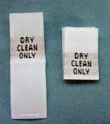 100 pcs WOVEN CLOTHING LABELS, SIZE TAGS WHITE - DRY CLEAN ONLY