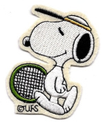 Snoopy ready for a tennis match with tennis racket and visor Embroidered Peanuts Iron On / Sew On Patch