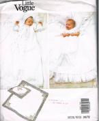 LITTLE VOGUE 2878 INFANTS DRESS, COAT, BONNET, PILLOW SHAM & BLANKET - NEWBORN SIZE ONLY