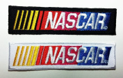 2 Pcs. Black & white Nascar Patches 9.8x2.5 Cm Sew/iron on Patch to Cloth, Jacket, Jean, Cap, T-shirt and Etc.