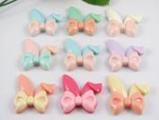 24pcs Resin Cute Rabbit Ears Bow Flatback Button Embellishments Craft -Upink
