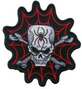 Black Widow Spider Web Skull and Bones Embroidered [ 13cm ] Biker Patch