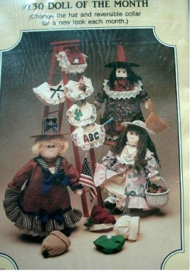 DOLL OF THE MONTH SEWING PATTERN (CHANGE THE HAT AND REVERSIBLE COLLAR FOR A NEW LOOK EACH MONTH) DESIGNS BY SUZI MCCRACKEN FOR THE BUCKEYE TREE #130