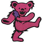 The Grateful Dead Dancing Bear Pink Embroidered Patch