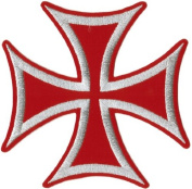 Iron Cross - Silver On Red - Embroidered Iron On Or Sew On Large Patch