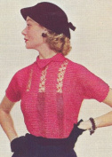 Vintage Knitting PATTERN to make - Fancy Knitted Ribbon Lace Panel Evening Blouse Top. This is a pattern and/or instructions to make the item only.