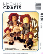 McCall's 8551 Crafts Sewing Pattern Raggedy Ann and Andy Dolls
