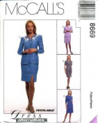 McCall's Sewing Pattern 8669 Misses' Dress, Unlined Jacket & Skirt, Size FW
