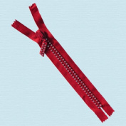18cm Rhinestone Zippers Closed Bottom ~ Czech Rhinestone Zipper ~ Dual-strand ~ Hot Red