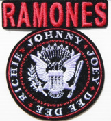 7.6cm x 8.9cm 3'x 3.5' RAMONES JOHNNY JOEY DEE DEE RICHIE Music Band Logo Jacket T shirt Patch Sew Iron on Embroidered Badge music patch by Tourlesjours