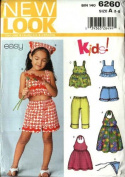 New Look Sewing Patterns 6260 Girls Sizes 3-8 Easy Summer Wardrobe Top Dress Shorts Pants