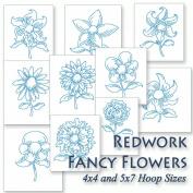 Fancy Flowers Redwork Floral Embroidery Machine Designs on CD - Multiformat