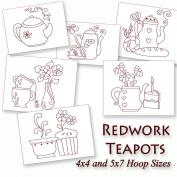 Kitchen Teapots Redwork Tea Time Embroidery Machine Designs on CD - Multiformat