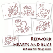 Whimsical Hearts and Bugs Redwork Embroidery Machine Designs on CD - Multiformat