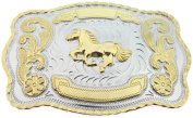 Horse Western Style Cowboy Rodeo Gold Large Belt Buckle