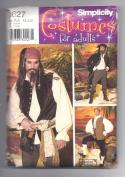 Men's Pirate Costume Simplicity Pattern 0627 SizeAA XS,S,M