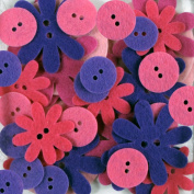 Favourite Findings 48-Piece Big Bag of Felt Buttons, Fresh Flowers
