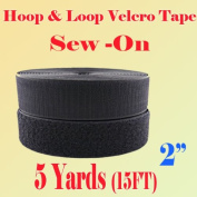 5.1cm (Inch) Width Black or White Sew on Hook & Loop - Premium Grade Non-adhesive Sew-on Style Sold Includes Hook and Loop Both Strips Interlocking Tape Sold By 5, 10, 27 Yards