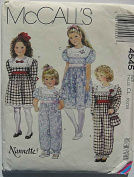 McCall's 4545 Sewing Pattern ~ Nannette® Children's, Girl's Jumpsuit, Dress and Matching Bag - Sizes 6-7-8