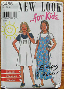 New Look 6485 Sewing Pattern ~ Girl's Children's Easy 2 Hour Spaghetti Strap Jumper and Top, Sizes 4-9