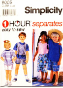 Simplicity 9005 1 Hour Easy To Sew Children Shorts & Tops