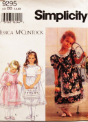 Simplicity 9295 Jessica McClintock Fancy Little Girl Dress Sewing Pattern (Long & Short Sleeve) SIZE 5,6,6X