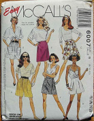 McCall's 6007 Misses' Shorts, Size B 8, 10, 12