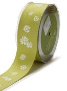 May Arts 3.8cm Wide Ribbon, Celery Grosgrain Daisies