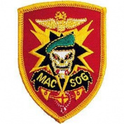 US Military Embroidered Iron on Patch - Vietnam War Collection - Mac V Sog Skull Crest Applique