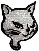 7.6cm Glamour Silver Glitter Kitty Pussy Cat Animal Patch