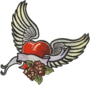 Tattoo Art Novelty Iron on Patch - Red Roses and Winged Heart Patch Logo