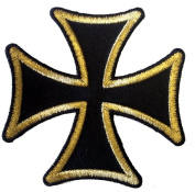 7.6cm Gold On Black Motorcycle Maltese Iron Cross Novelty Iron On Patch Applique