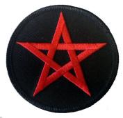 7.6cm Red Pentagram Star Novelty Iron On Patch Applique