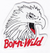 Biker Born Wild Eagle Iron on Backing Embroidered Patch Heat Seal Motorcycle Appliques