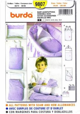 Burda 9807 Sewing Pattern Infants Accessories Bunting Bag Pillow