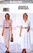 Butterick Sewing Pattern 5032 Misses' Long, Front Button Dress, Size 12-14-16