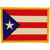 International World Countries Rectangle Flag Iron On Patch - Puerto Rico Applique