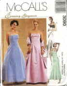 McCall's Sewing Pattern 3090 Misses' Lined, Formal Dress in 2 Lengths & Stole, Size AAX