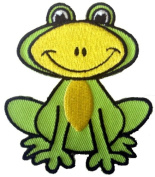 Novelty Animal Iron On Patch - Cute Green & Yellow Sitting Frog Applique
