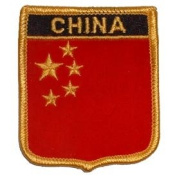 Novelty Embroidered Iron on Patch - International Flag Sheild Collection - China Crest - Badge Applique