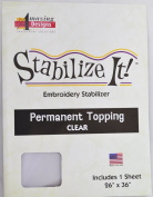 STABALIZE IT EMBROIDERY STABALIZER. PERMANENT TOPPING CLEAR 1YD