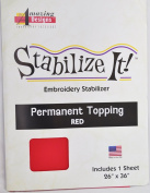 STABALIZE IT EMBROIDERY STABALIZER. PERMANENT TOPPING RED 1YD