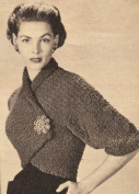 Vintage Knitting PATTERN to make - Knitted Wrap Shrug Bolero Shortie Jacket. NOT a finished item. This is a pattern and/or instructions to make the item only.