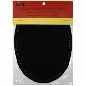 2/pkg Sew-on 12cm x 17cm Black Suede Cowhide Elbow Patches