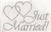 Just Married Iron On Hot Fix Transfer Rhinestone -- Clear