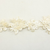 Ivory Faux leather Trim Flower Trim Flower Floral Lace Trim sinthetic lace trim wedding fabric Millinery accent motif by the yard for baby headband hair accessories dress bridal accessories by Annielov trim #61