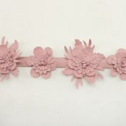 Pink Faux leather Trim Flower Trim Flower Floral Lace Trim sinthetic lace trim wedding fabric Millinery accent motif by the yard for baby headband hair accessories dress bridal accessories by Annielov trim #61