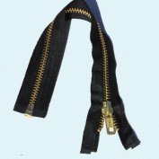 90cm Jacket Zipper YKK #5 Brass Nomex Fire Retardent Separating Zippers ~ Black
