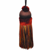 50cm Key Tassel with a 10cm Cord, Burgundy and Gold