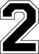 Iron-On 20cm Jersey Number Pack w/15 Numbers in Black